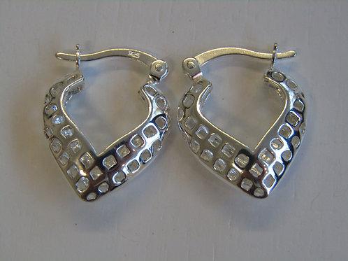 Sterling silver heart shaped creole earrings