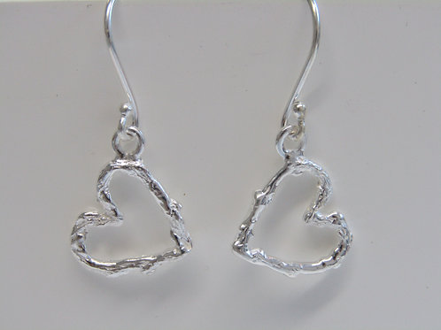 Sterling silver hammered heart drops