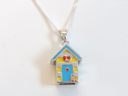 Sterling silver and enamel beach hut pendant