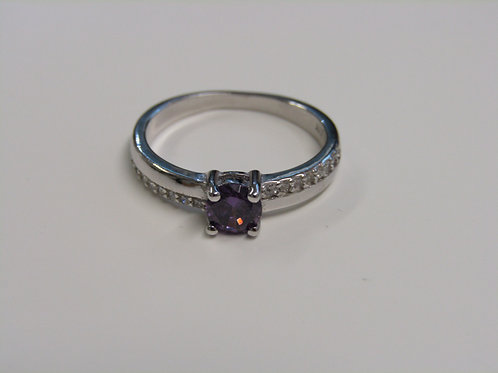 Sterling silver and amethyst cubic zirconia ring
