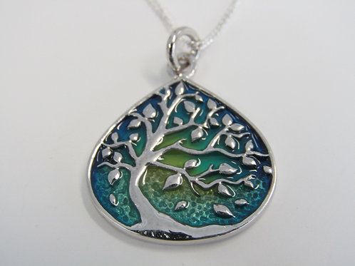 Sterling silver tree of life with enamel detail