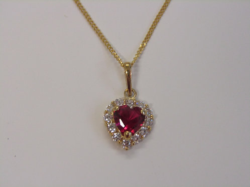 9ct ruby and white cubic zirconia heart pendant