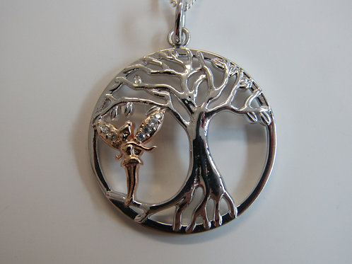 Sterling silver and rose gold cubic zirconia fairy and tree of life pendant
