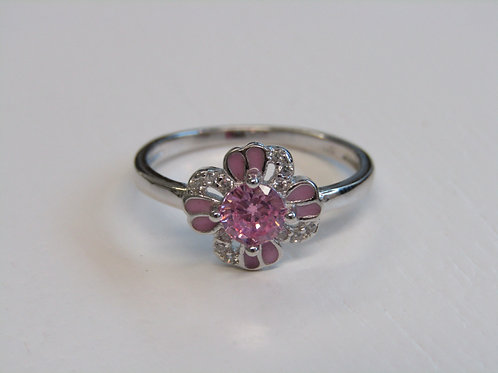 Sterling silver pink and clear cz ring