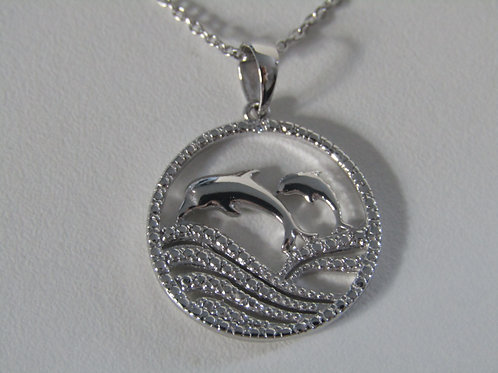 Sterling silver and cubic zirconia dolphin pendant