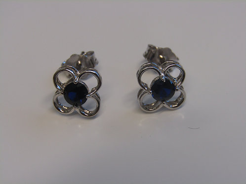 Sterling silver sapphire flower studs