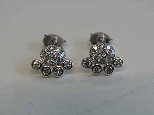 Sterling silver and cubic zirconia paw print studs