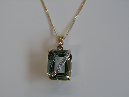 9ct gold green amethyst and diamond pendant
