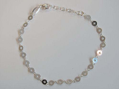 Sterling silver fancy cut out disc bracelet