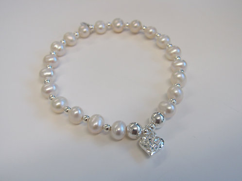 """Sterling silver and pearl stretchy bead bracelet with """"filigree heart"""" charm"""