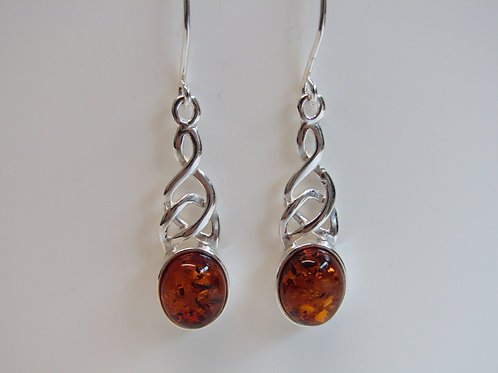 Sterling silver celtic amber drops