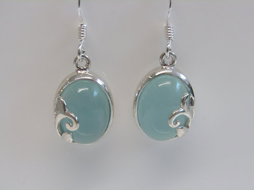 Sterling silver blue chalcedony with floral overlay