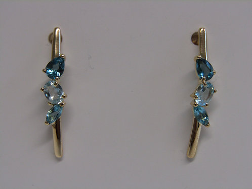 9ct yellow gold blue topaz stick earrings
