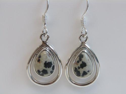Sterling silver Dalmation jasper teardrops