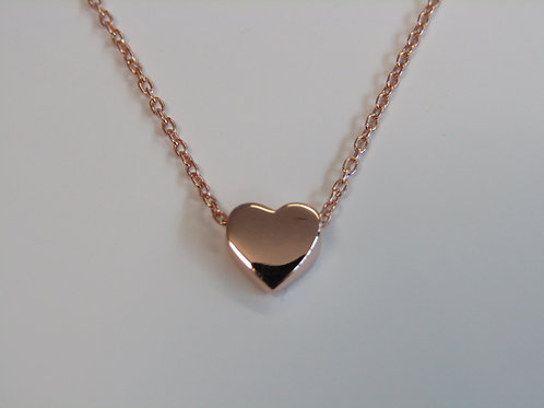 9ct Rose gold heart charm necklace