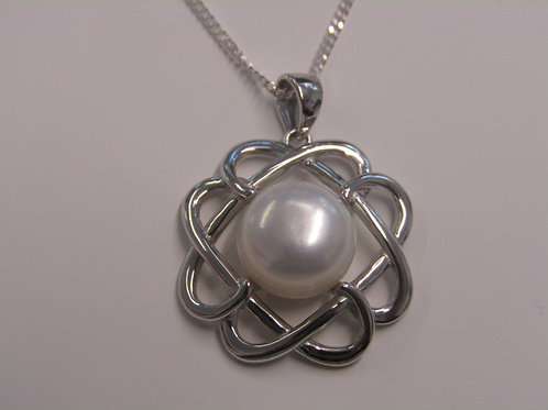 Sterling silver celtic knot pearl pendant