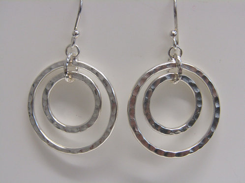Sterling silver double circle hammered drops