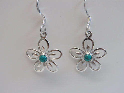 Sterling silver turquoise flower drops