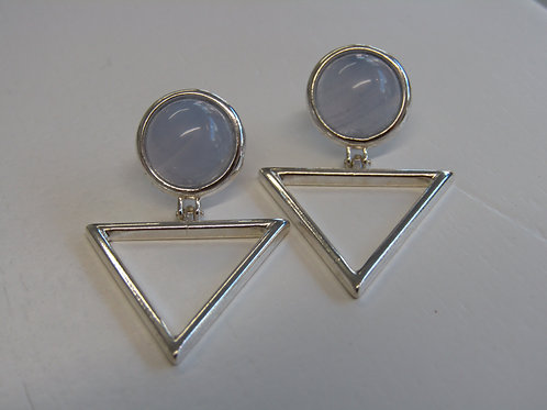 Sterling silver  blue lace agate, triangle drops