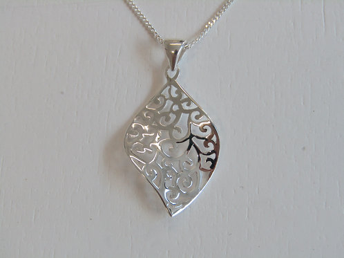 Sterling silver abstract style leaf