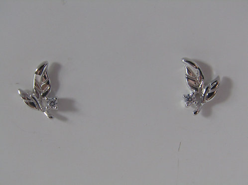 Sterling silver small leaf studs with cubic zirconia