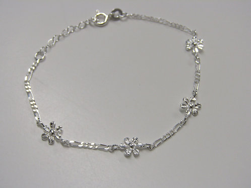 Sterling silver figaro and flowers bracelet