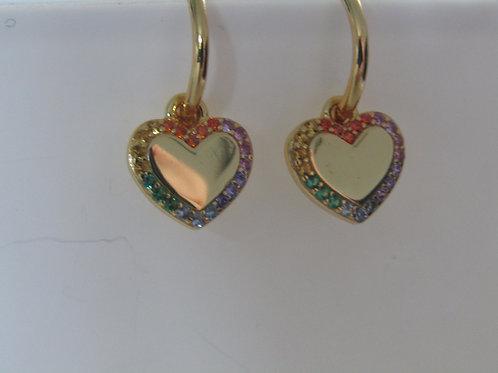 Yellow gold plated rainbow cubic zirconia heart stud hoops