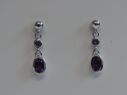 Sterling silver and amethyst two stone drops