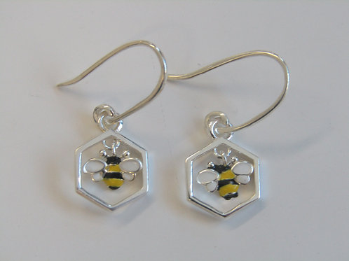 Sterling silver and enamel bee and combe drops