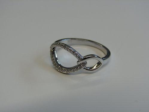 Fiorelli Silver cubic zirconia double navette ring