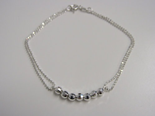 Sterling silver with diamond cut bead bracelet