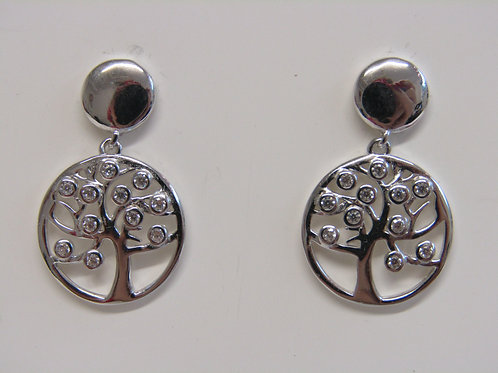 Sterling silver tree of life drops with cubic zirconia