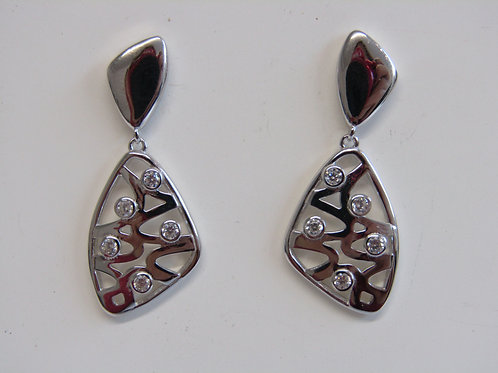 Sterling silver rhodium plated drops with cz
