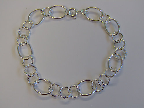 Sterling silver triple twisted link bracelet