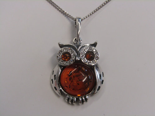 Sterling silver wise owl cognac amber pendant
