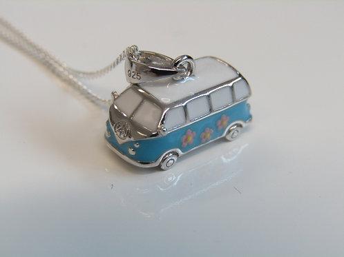 Sterling silver and enamel camper van