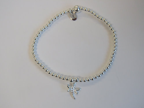 """Sterling silver stretchy bead bracelet with """"dragonfly"""" charm"""