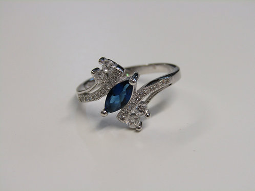 Sterling silver and sapphire cubic zirconia ring