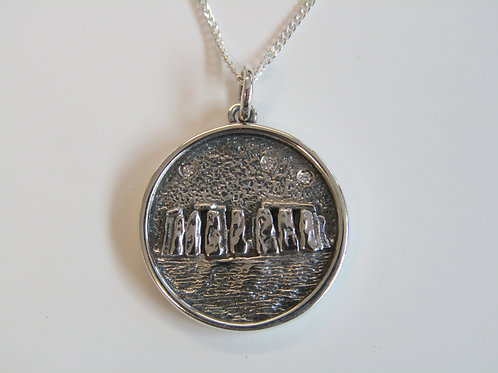Sterling silver Stonehenge disc pendant
