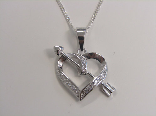 Sterling silver heart and arrow with cubic zirconia