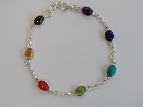 Sterling silver multi gem bracelet