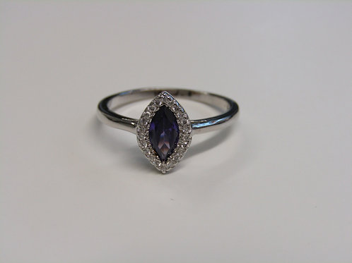 Sterling silver amethyst cubic zirconia ring