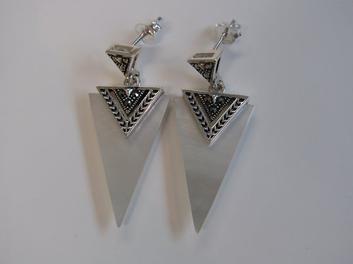 Sterling silver mother of pearl and marcasite triangle drops