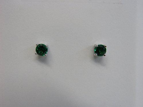 Emerald Round sterling silver stud earrings