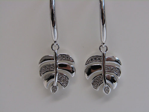 Sterling silver palm tree leaves with cubic zirconia