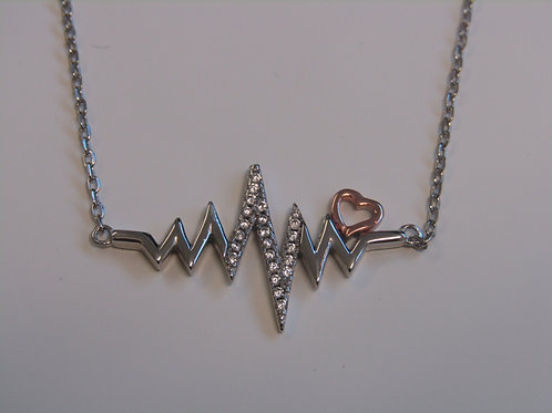 Sterling silver heart beat with cubic zirconia necklace