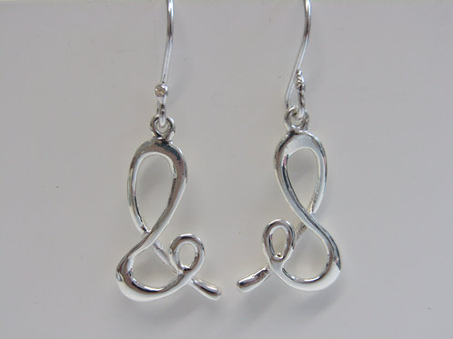 Sterling silver ampersand shape drops