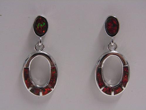 Sterling silver fire opal drops
