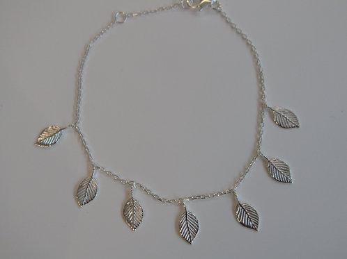 Sterling silver multi leaf charm bracelet