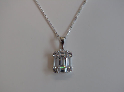 Sterling silver cubic zirconia baguette cut pendant